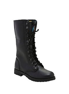 "<div>Get dressed up as Sally from head to toe when you finish off your look with these boots from <i>The Nightmare Before Christmas</i>! The black lace-up combat boots are lined with the same material as Sally's patchwork dress and have a cool foldover detail with an extra long tongue. </div><div><ul><li style=""list-style-position: inside !important; list-style-type: disc !important"">Man-made materials</li><li style=""list-style-position: inside !important; list-style-type: disc !importa..."