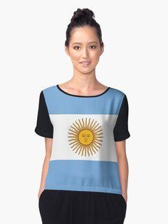 'Argentina Flag' T-Shirt by ArgosDesigns Argentina Flag, Tshirt Colors, Female Models, Chiffon Tops, Classic T Shirts, Shirt Dress, Tees, Casual, How To Wear
