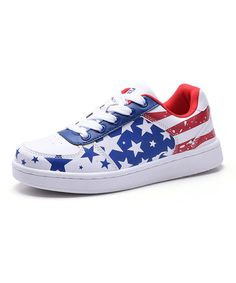 Put a patriotic accent on your little one's ensemble with this vibrant lace-up sneaker that features classic styling and keeps little feet steady in their steps. Kid Shoes, Converse, Lace Up, Stripes, Stars, Sneakers, Fashion, Tennis, Moda