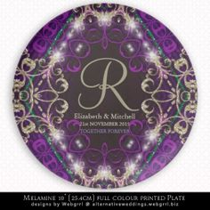 Magic Purple Sparkle Monogram Wedding Gift Plate #homedecor #personalized