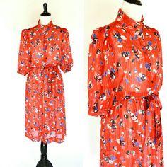 Vintage 1980's Red Floral Secretary Dress  Red by PonsonbyVintage