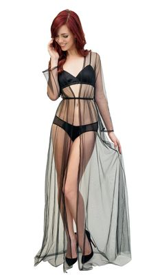 922e95792e0a2 Clair de Lune robe in mesh and lace - sheer see-through black robe in