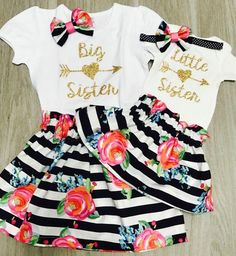 Big Sister Little Sister outfits//Family Pictures//Pregnancy Anouncement//Matching Sister Outfits//Big Sis Little Sis tops by on Etsy Big Sister Outfits, Matching Sister Outfits, Big Sister Little Sister, Newborn Girl Outfits, Cute Baby Girl Outfits, Kids Outfits, Cute Outfits, Twin Baby Clothes, Babies Clothes