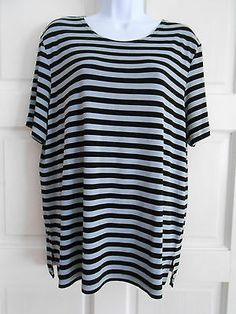 womans top shirt pullover sz L nt norm thompson stretchy short sleeves