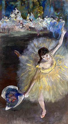 <아라베스크의 끝남>. 에드가 드가 作. 1877년. 아라베스크는 고전 발레에서 볼 수 있는 외발 서기 자세의 하나로 그림 속 발레리나가 취한 자세의 명칭이다. 양팔과 양발을 쫙 뻗는 이 자세는 인체의 곡선을 아름답게 보여주는 발레의 대표적인 자세 중 하나다. 드가 특유의 위에서 내려다보는 듯한 관점에서 그려진 이 작품에서 다른 작품들과 달리 발레리나의 손에 꽃다발이 쥐어져있다. 제목에 비추어 생각해보면 그녀가 이 공연의 피날레를 장식하고 있는 것이라는 추측을 해 볼 수 있다. 신체의 곡선을 가장 아름답게 보여주는 아라베스크를 통해 공연을 끝맺는 그녀의 손끝은 아름다움과 우아함을 함축하고 있다.