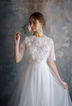 bohemian wedding SINLED / floral rich hand embroidery wedding dress ethereal tulle bridal gown romantic open back silk brautkleid bohemian ethereal bridal Ethereal Wedding Dress, Diy Wedding Dress, Bohemian Wedding Dresses, Diy Dress, Tulle Wedding, Flowery Wedding Dress, Bridal Gowns, Wedding Gowns, Robe Diy