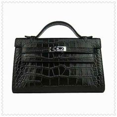 Hermes Kelly Bag In Crocodile Black