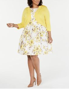 Jessica Howard Plus Size Floral-Print Fit & Flare Dress & Shrug - Yellow Shrug For Dresses, Dresses With Leggings, Casual Skirt Outfits, Girl Outfits, Fit Flare Dress, Fit And Flare, Daytime Dresses, Review Dresses, Designer Wedding Dresses