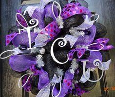 Premium Texas Christian University TCU Deco Mesh Wreath (black/purple/silver) - TCU football wreath, TCU deco mesh, tcu decorations via Etsy
