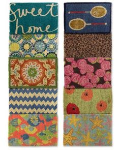#garnethill and #summerstyle  Garnet Hill mats bring summer to the front door - love the Poppies, Starfish and Zigzag