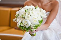 white peony, lily of the valley bouquet