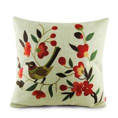 Bird throw pillow Chinese style couch cushions 18 inch