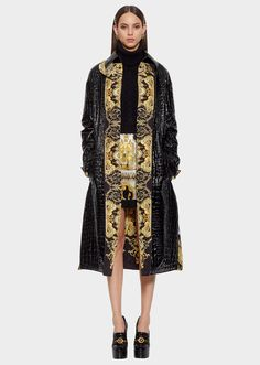 004b4b6ccd0d Versace Mock Croc Vinyl Trench Coat for Women   US Online Store Versace,  Everyday Outfits