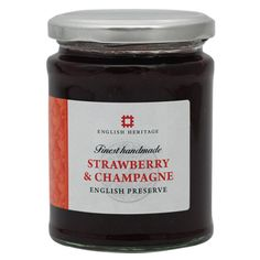 English Heritage luxurious strawberry and champagne jam is handmade in Britain using only the finest ingredients.
