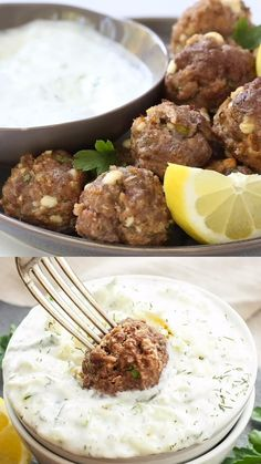 Greek Meatballs with Tzatziki Sauce are a delicious dinner or appetizer! The meatballs are loaded with spices, lemon zest and feta cheese! They're sure to please anyone who loves Greek flavors. #meatballs #greekfood #greekmeatballs #feta #tzatziki #beef #appetizer #healthydinner