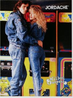 We're head over heels for this double denim couples outfit. Considered a fashion faux pas for some, we're into this iconic retro styling. 80s Fashion Party, 1980s Fashion Trends, 80s And 90s Fashion, Retro Fashion, Vintage Fashion, 80s Trends, Look 80s, 80s Outfit, Couple Outfits
