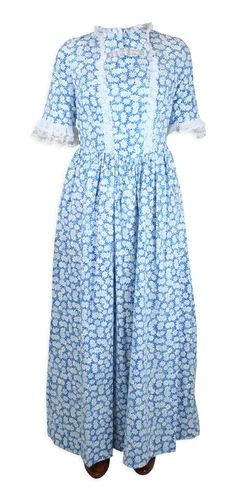 Blue Dress at Historical Emporium Pioneer Clothing, Historical Emporium, Blue Dresses, Summer Dresses, Blue Daisy, Amelia Dress, Period Outfit, Pioneer Woman, Lady
