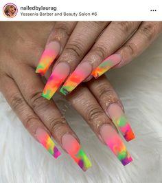 Unique Matte Ombre Coffin Nails Art Designs In Summer - acrylic nails Bright Summer Acrylic Nails, Best Acrylic Nails, Acrylic Nail Designs, Summer Nails, Nail Art Designs, Nails Design, Pastel Nails, Spring Nails, Wedding Nail Polish