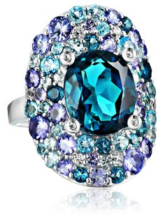 Kenneth Jay Lane Fine Jewelry Sterling Silver, Tanzanite, Blue and White Topaz Oval Ring, Size 7- http://www.amazon.com/dp/B00OHII3F0/?tag=shops0d-20
