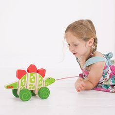 Encourage your little one's dexterity and confident mobility with this pull along. This wooden dinosaur features colourful wheels and elastic joints for lots of bendy, wiggly, pull along fun.