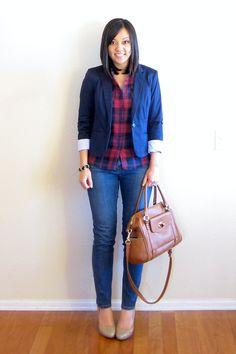 (fall/work) red plaid shirt, navy blue blazer, jeans, nude pumps