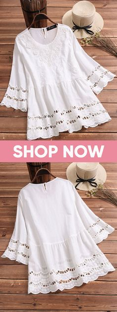 60% OFF! Elegant Hollow Lace White Shirts for Women. White color fashion. #white #outfits #summer