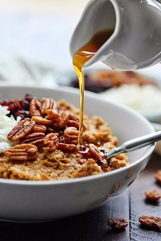 This slow-cooker maple pumpkin oatmeal recipe is perfect for Fall mornings. It…