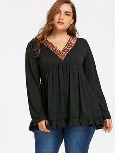 Plus Size Embellished V Neck Babydoll Top - BLACK 4XL