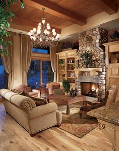 Beautiful stone fireplace in this inviting living room.