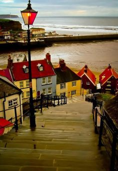 'The 199 Steps' in Whitby, Scarborough, North Yorkshire, England. A definitely must see travel destination within England. Places Around The World, Oh The Places You'll Go, Places To Travel, Places To Visit, Around The Worlds, Whitby England, Yorkshire England, North Yorkshire, England Uk
