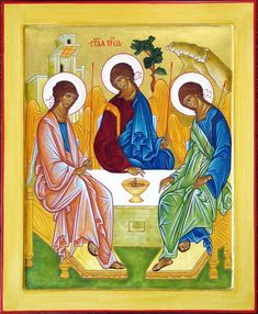 Andrei Rublev was the painter of The Holy Trinity. Jesus in the middle points to the Eucharist and both He and the Holy Spirit on the right look to the Father on the left. The Eucharist is the center of the life of the Trinity. Trinidad, Andrei Rublev, Liturgical Seasons, Biblical Art, Moment Of Silence, Byzantine Icons, Eucharist, Piece Of Music, Spiritism