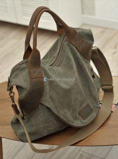 Large Capacity Shoulder Bag Leather Canvas Bag (16)