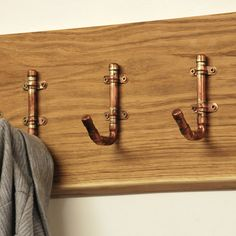 Industrial Copper Pipe Hooks- Fathers Day - Gift For Dad - Dad Gift - Wall Coat Rack - Coat Hooks - Industrial Furniture - Copper Home Decor