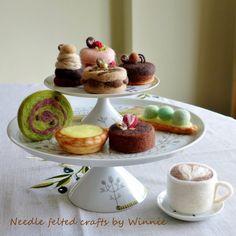 Needle felted dessert Tart & cake each sold by FunFeltByWinnie