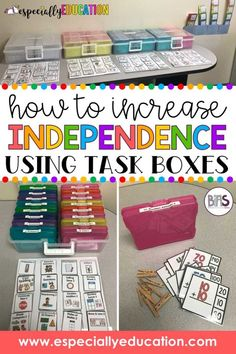 How to Increase Independence Using Task Boxes in the Classroom. Special education students take immense pride in showing off their finished work, keeping all the materials together, and putting the tasks and boxes away into their rightful places. Life Skills Classroom, Autism Classroom, New Classroom, Special Education Classroom, Google Classroom, Classroom Activities, Special Education Organization, Special Education Activities, Autism Activities