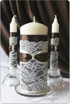 """Купить Свадебные свечи """"Париж"""" в шоколадном - коричневый, свечи ручной работы, Свечи, свечи на свадьбу"""