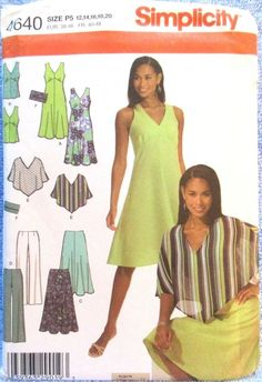 Simplicity Pattern 4640 Misses Petite Dress Top Skirt Pants Poncho Purse 12-20