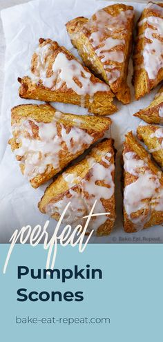 Light and fluffy pumpkin scones topped with a sweet maple glaze.  These scones are the perfect breakfast treat to enjoy with your morning coffee! #pumpkinrecipe #pumpkinspice #scones Lunch Recipes, Crockpot Recipes, Soup Recipes, Breakfast Recipes, Dessert Recipes, Healthy Recipes, Fall Breakfast, Perfect Breakfast, Pumpkin Scones
