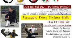 Il 26-27 Febbraio ci saranno gli esami di passaggio di prima cintura gialla per tutti i nuovi allievi della scuola di arti marziali cinesi ASD Wu Wei Dao – Discipline Orientali.  I corsi della scuola sono: Wudang Kung Fu; Wudang Tai Chi; Qi Gong; Yoga; Sanda (kickboxing chinese); Lotta Shuai Jiao; Wushu Kung Fu; Autodifesa personale