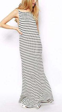 White Black Stripe Backless Dress