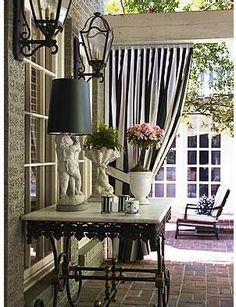 Outdoor black and white curtains
