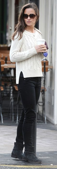 Pippa Middleton in a totally Kate Middleton kinda sweater outfit, don't you think?