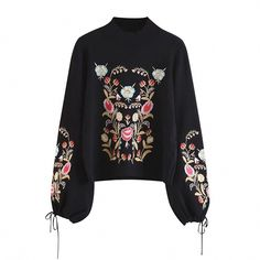 572ec253f2 Embroidery Lace Up Knitted Sweater Women Autumn Winter Long Sleeve Big Size  Black Female Jumpers Casual Korean Clothing