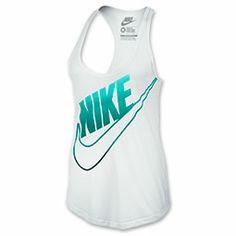 Women's Nike Futura Fade Tank| FinishLine.com | White/Turbo Green/Dark Grey Heather
