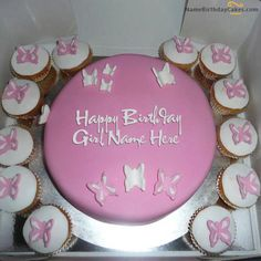 Write name on Butterfly Birthday Cake For Girls - Happy Birthday Wishes