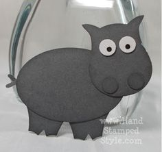 """hippo using owl punch. """"Hippo Birdy to you! Owl Punch Cards, Paper Punch Art, Owl Card, Stampin Up, Craft Punches, Animal Cards, Card Making Inspiration, Kids Cards, Greeting Cards Handmade"""