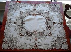 "Antique Victorian Branscombe lace and linen tea cloth -- monogram ""T"""