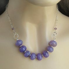 Purple Agate and Sterling Silver Necklace - Violet Chunky Gemstone Necklace - Lavender Agate and Swarovski Crystals