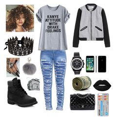 Untitled #16 by queendaiii on Polyvore featuring polyvore, fashion, style, Chanel, Mad Collections, Moschino, Timberland, Urban Decay, Apple and clothing