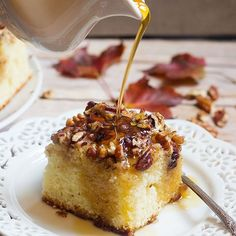 This Pecan Pie Cake is one you will want to print and save. This delicious cake is topped with chopped pecans and maple syrup.